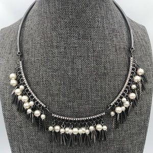 INC Gunmetal Crystal Collar w/ Pearl/Spike Dangle